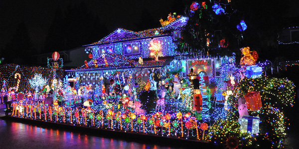 House covered in Christmas Lights